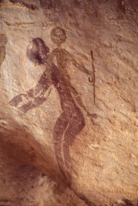 Pittura rupestre sul massiccio del Tassili n'Ajjer, in Algeria